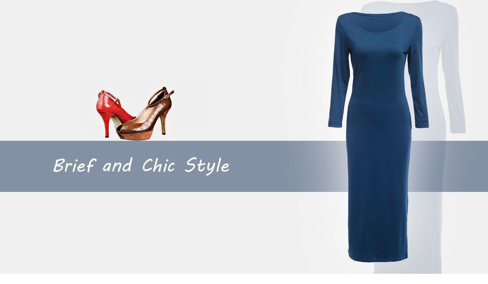 Brief Round Collar Solid Color Bodycon Women Midi Dress