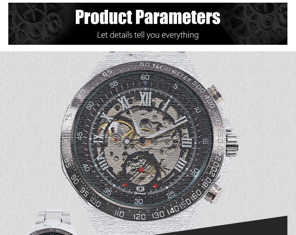 Gucamel G055 Men Auto Mechanical Watch Luminous Hollow Dial Stainless Steel Band Wristwatch