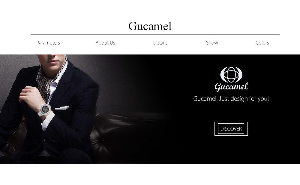 Gucamel G016 Men Auto Mechanical Watch Hollow Dial Luminous Stainless Steel Band Wristwatch
