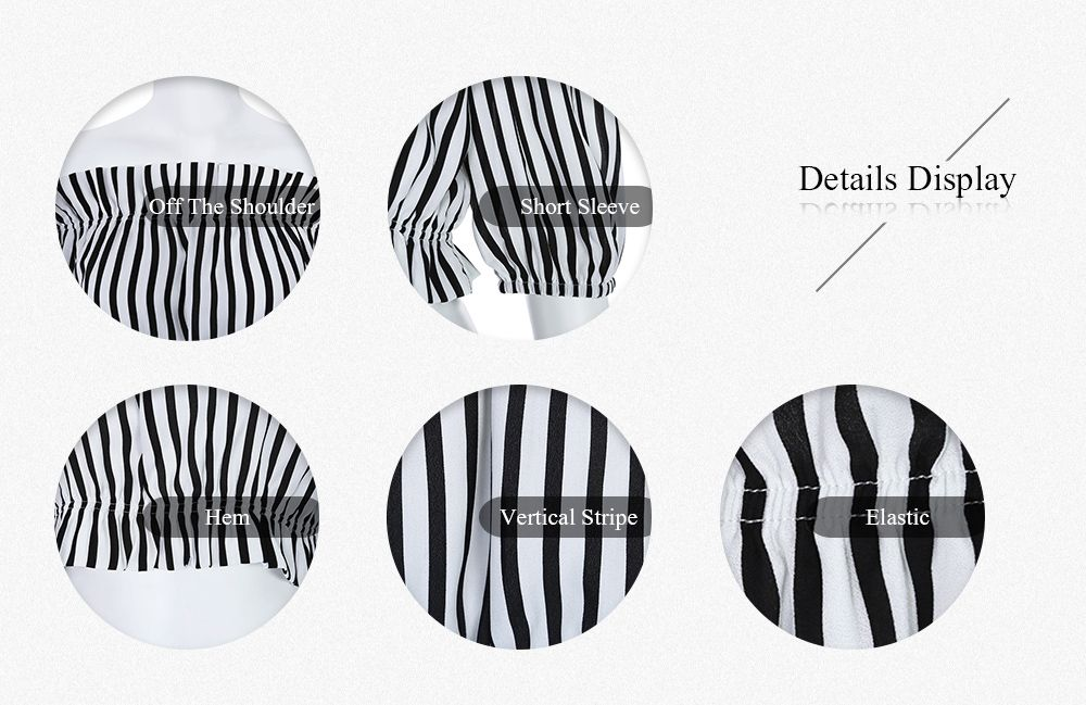 Trendy Off The Shoulder Short Sleeve Vertical Stripe Crop Top for Women