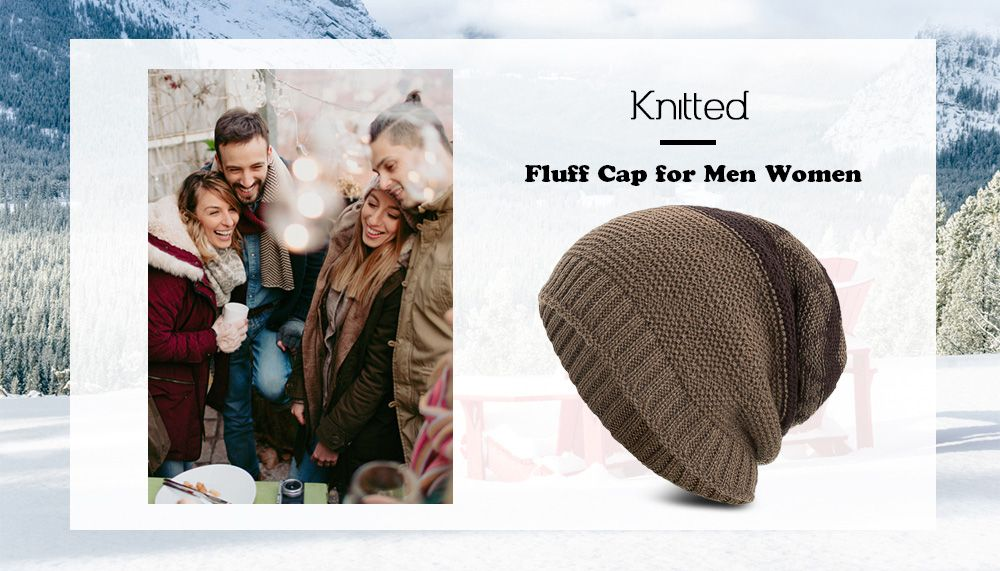 78e1867b721 Knitted Wool Hat Winter Plus Thick Fluff Line Cap Headgear for Men Women