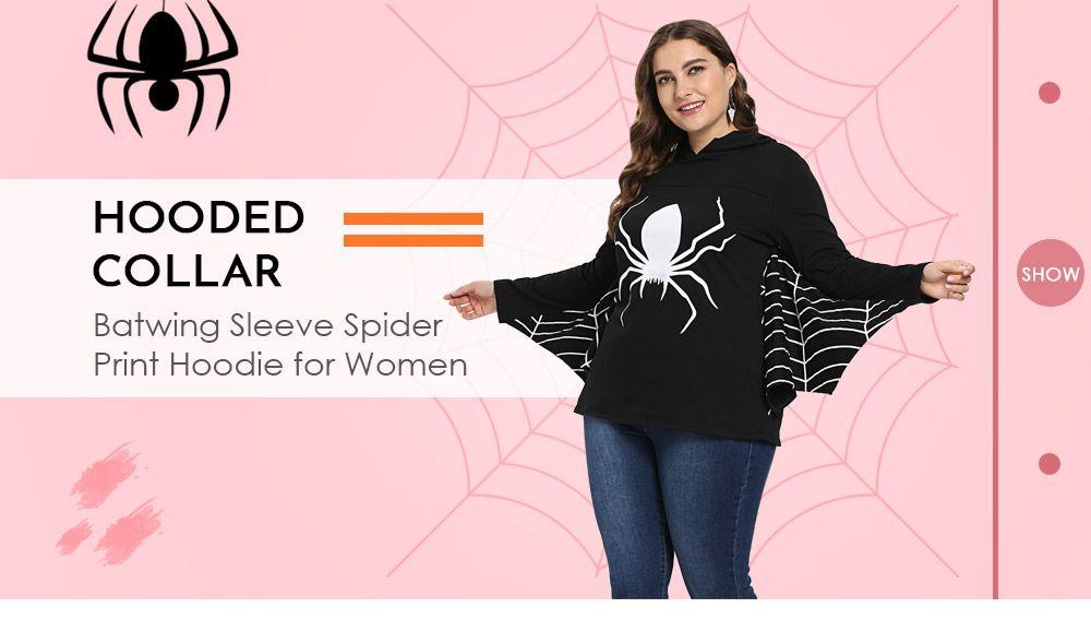 edd4bbe1676c5 Hooded Collar Long Batwing Sleeve Spider Web Print Halloween Women Hoodie