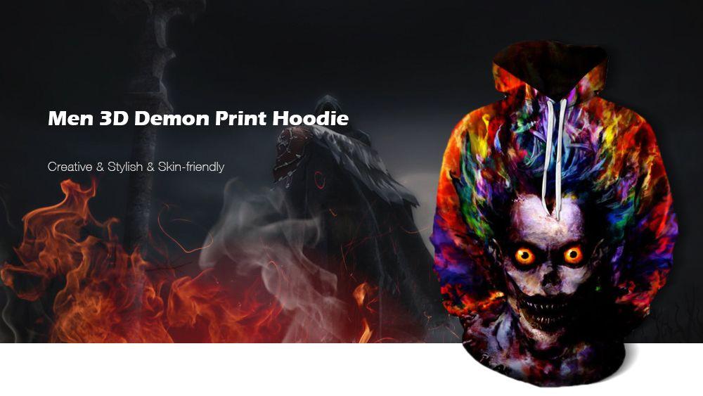 74a399278 32% OFF] Men's Casual Plus Size Black 3D Print Hoodie Demon Print ...