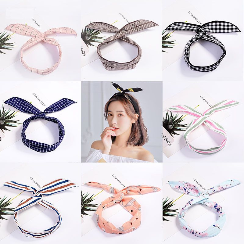 Fashion Plaid Knot Headband Turban Elastic Hairband Head Wrap Hair Accessories for Women Girls Striped Headwear