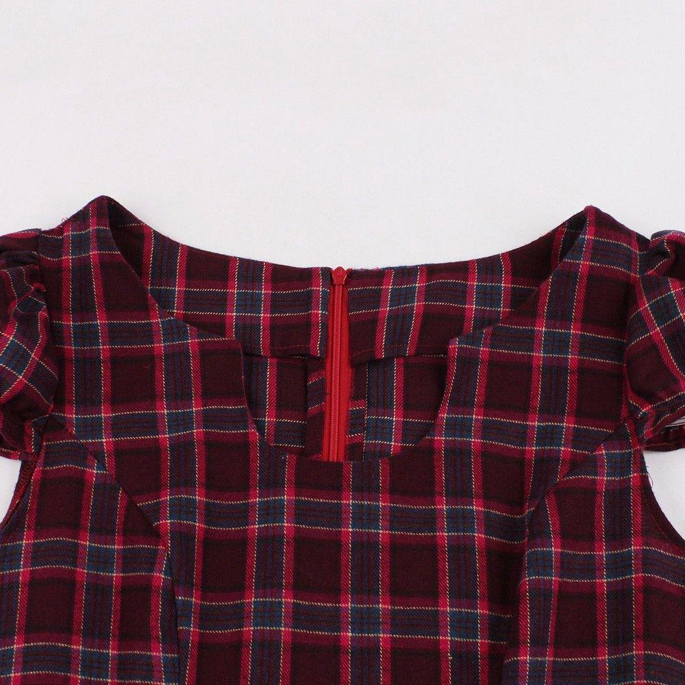 f16f1b21acf2 Hepburn Vintage Series Women Dress Spring And Summer Round Neck Checks Printing  Design Short Sleeve Corset