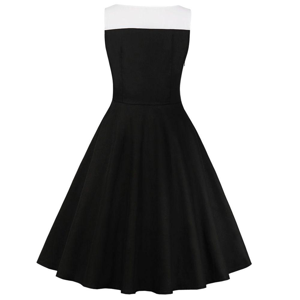 1d1211a696c Hepburn Vintage Series Women Dress Spring And Summer Round Neck Button Fly  Stitching Design Sleeveless Corset Retro Dress - 2xl