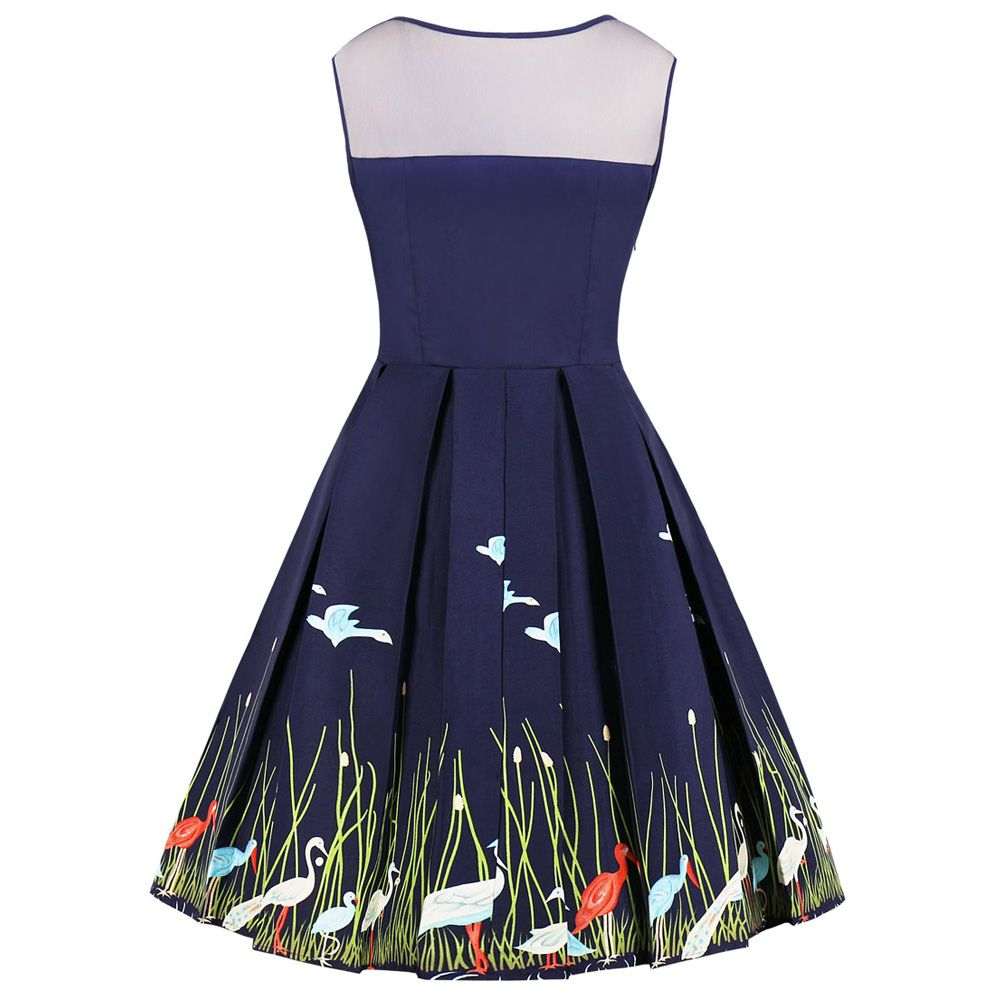 3313e1a836903 New Women's Vintage 50s 60s Swan Printing Retro Rockabilly Pinup Housewife  Party Swing Dress