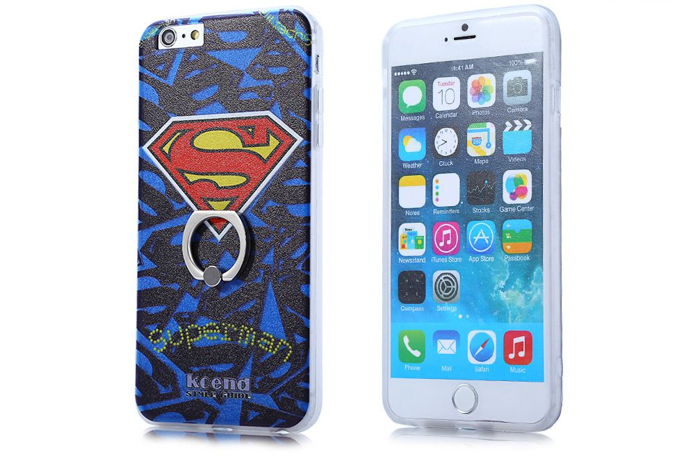 Super Man PVC Material Protective Back Case with Ring Stand for iPhone 6 Plus / 6S Plus