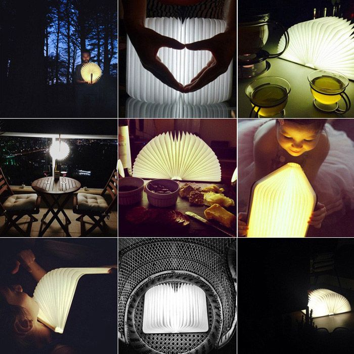 Novel Flip Book LED Nightlight Folding Books USB Charging Table Lamps