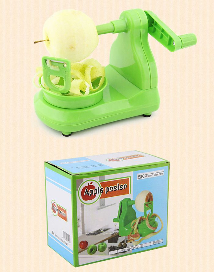 Portable Fruit Apple Peeler with Stainless Blade - Green