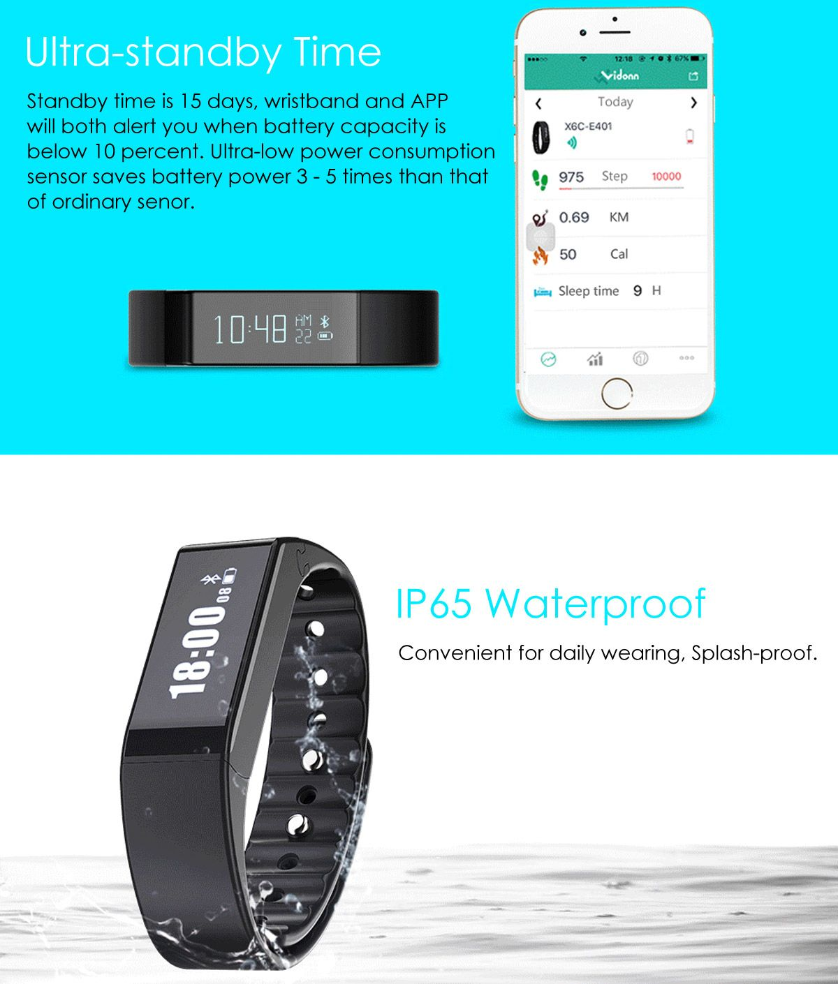 Vidonn X6S Cheetah Design Smart Watch Bluetooth Wristband