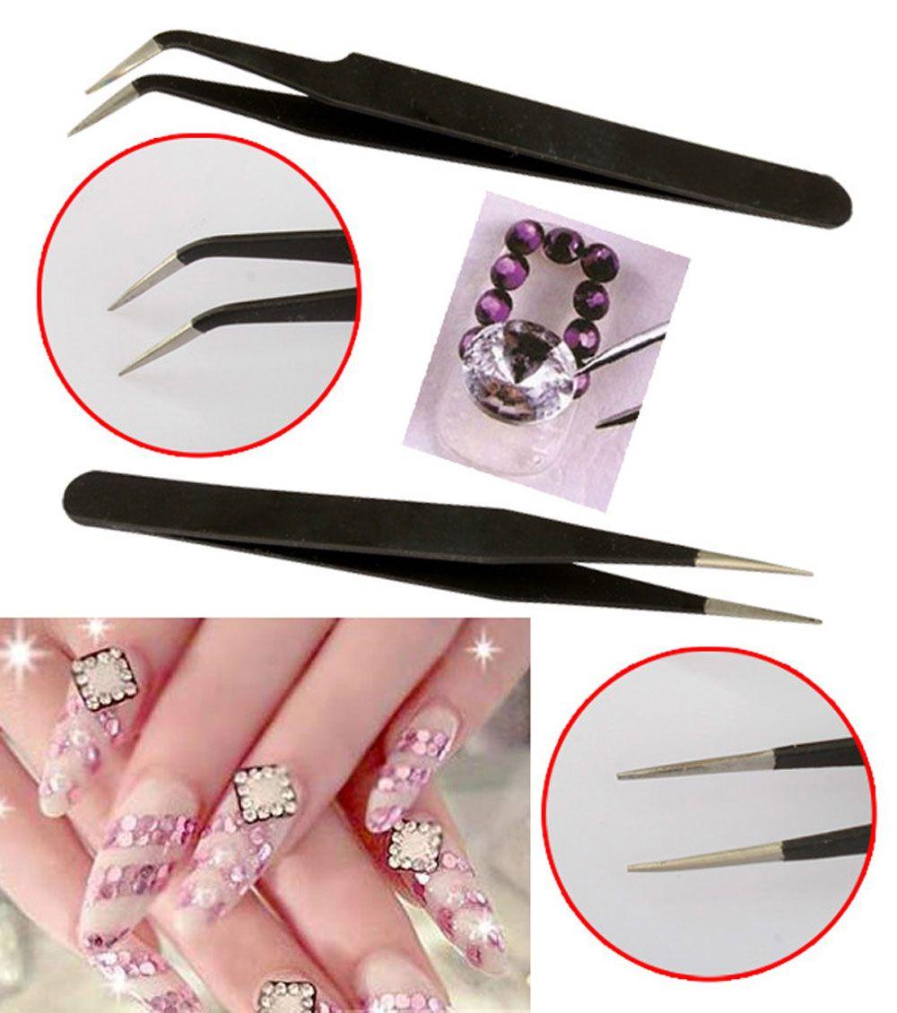 2pcs Black Bend Straight Anti-Static Stainless Steel Handle Curved Head Nail Art Tweezer Set