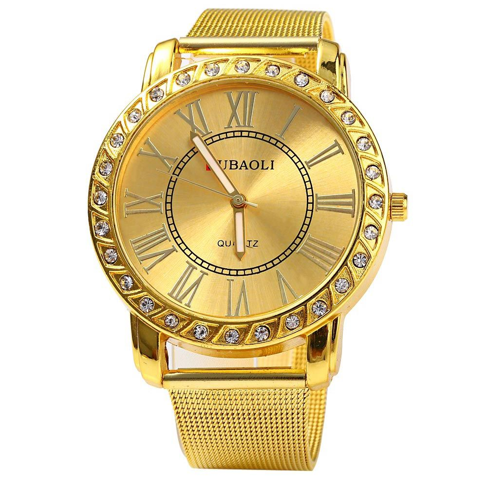 JUBAOLI Men Diamond Quartz Watch with Steel Net Strap