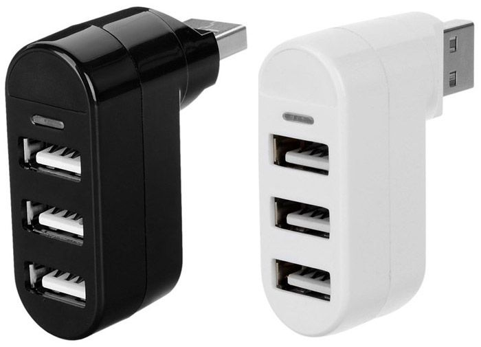 MAIKOU Rotatable 3 in 1  USB 2.0 Hub Splitter
