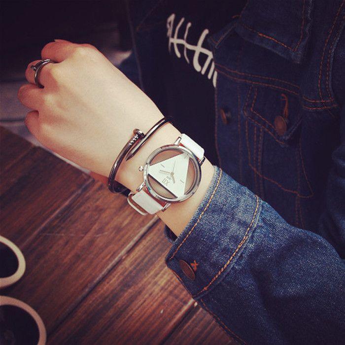 JIS Transparent Dial Triangle Pattern Quartz Watch for Couple