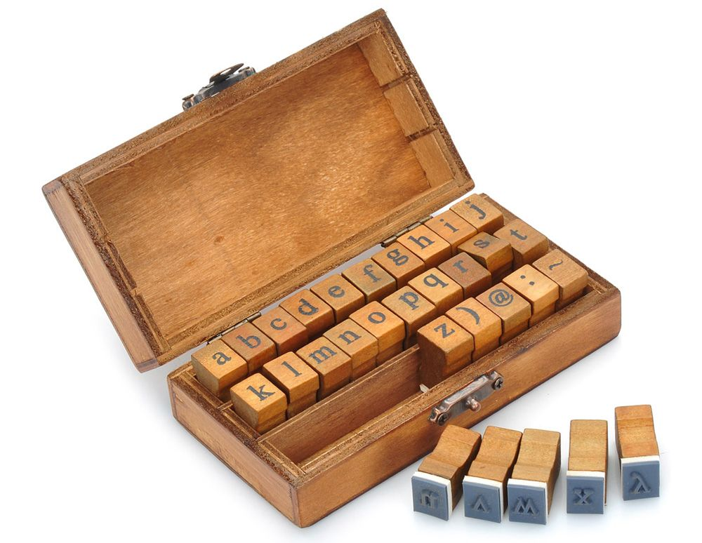Retro Style Alphabet Number Pattern Wooden Stamp Set