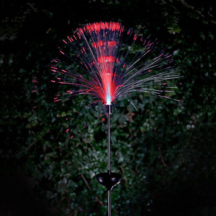 2PCS Solar Power Fiber Garden Stake Light Color Changing Decorative Path Lamp