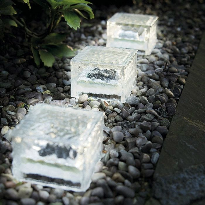Solar Power Ice Brick Shape Crystal LED Light Glass White Path Lamp for Outdoor Yard Garden Deck Road