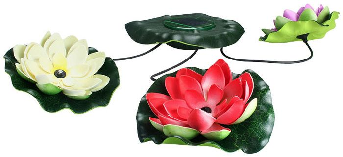 Solar Lotus LED Light Floating Pond Garden Pool Nightlight