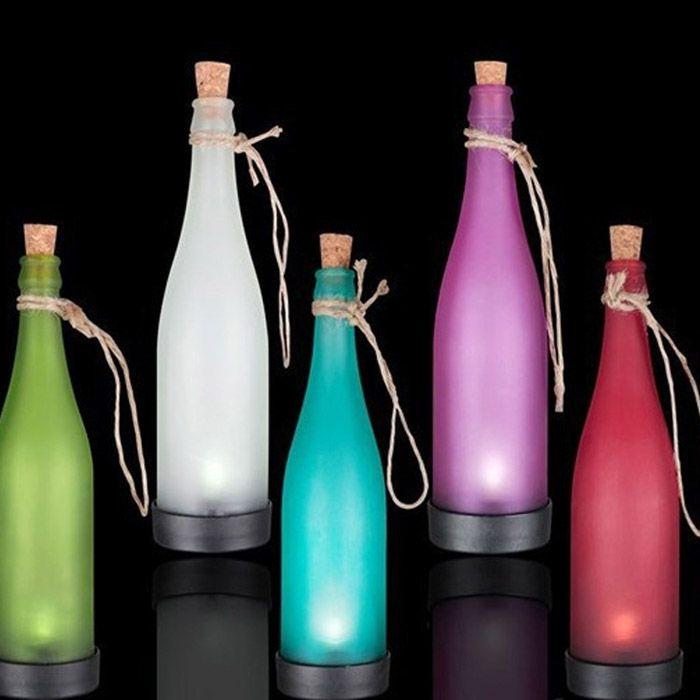 5PCS Bottle Shape Solar Power LED Lamp Party Interspersion Decoration Light