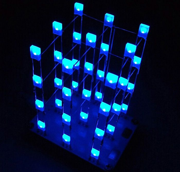 3 x 3 x 4 Color LED Light Cube Kit with 2 Button