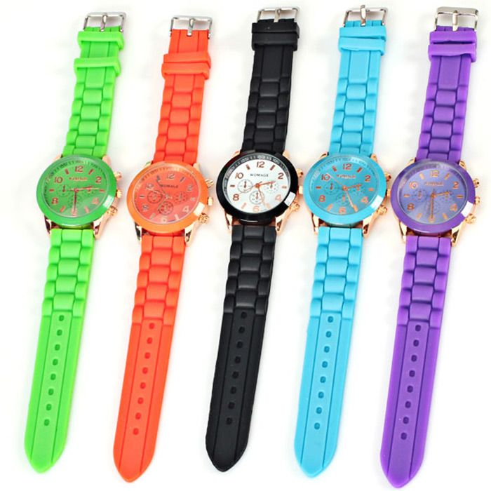 Quartz Watch 8 Arabic Number and Strips Indicate Rubber Watch Band for Women - Purple