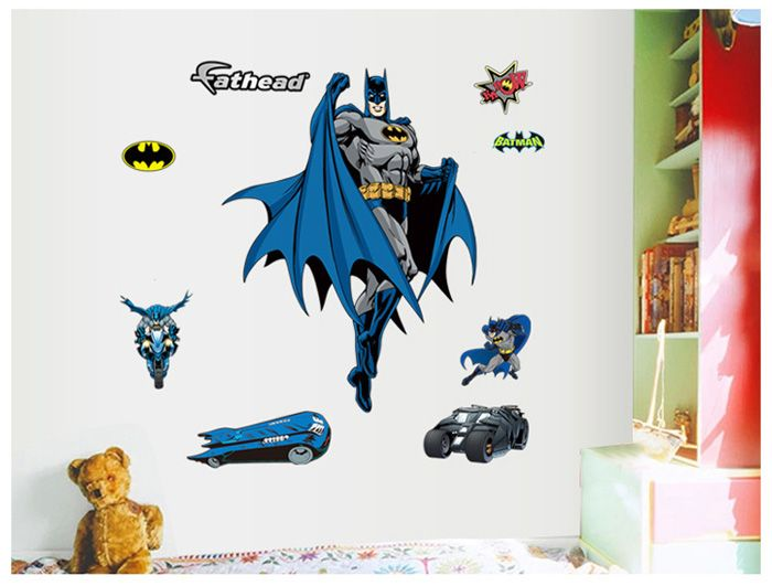 Multicolore autocollant mural amovible motif batman papier for Autocollant decoratif maison