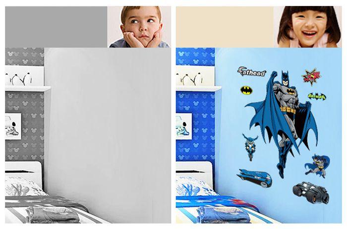 Multicolore autocollant mural amovible motif batman papier for Autocollant dcoratif mural