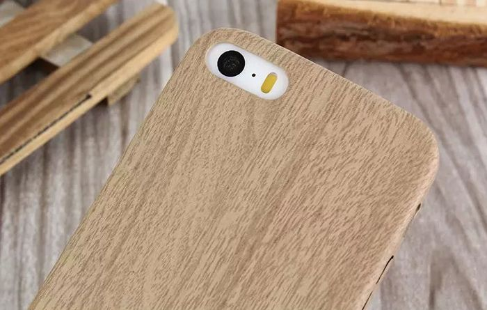 ASLING Wood Style Protective Back Case for iPhone 5 / 5S / SE Anti-scratch TPU Material Ultra-thin