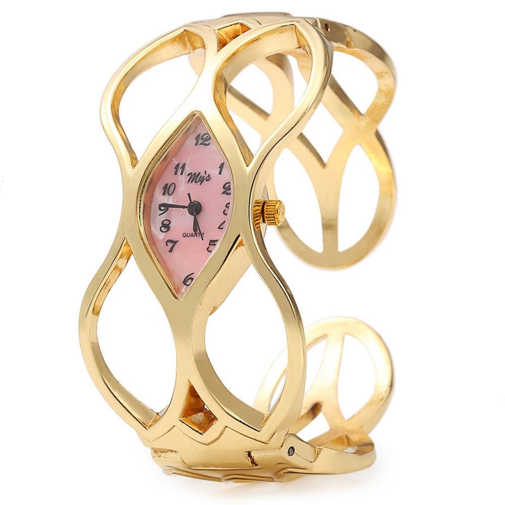 My's Oval Dial Gold Hollow-out Band Bracelet Wristwatch Quartz Women Watch