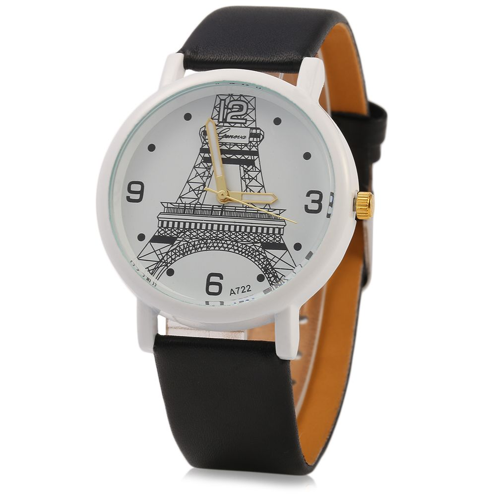 Geneva A722 Women Quart Watch Arabic Numerals and Dot Scale Leather Band