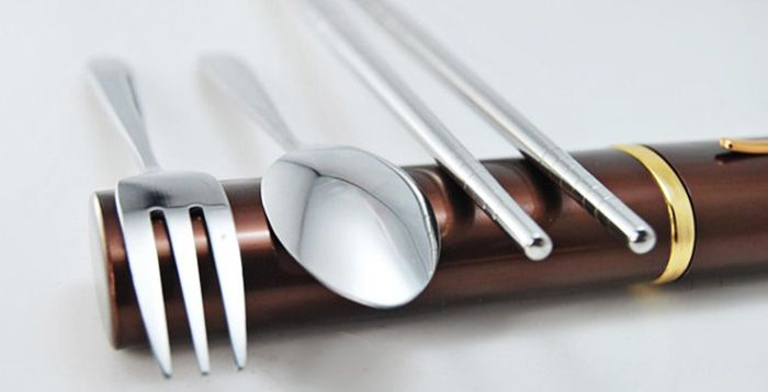 AOTU AT6362 3 in 1 Stainless Steel Chopsticks Fork Spoon Cutlery Set for Camping