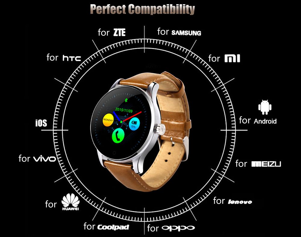 K88H MTK2502 Bluetooth Smart Watch Heart Rate Track Wristwatch