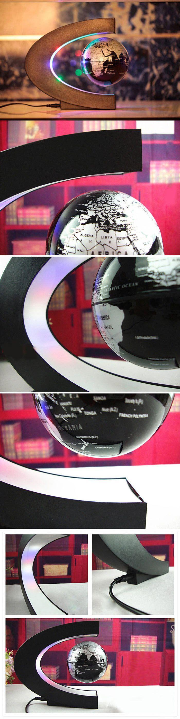 Creative C Shape Magnetic Levitation Floating Globe World Map with Colorful LED Light for Desk Decoration