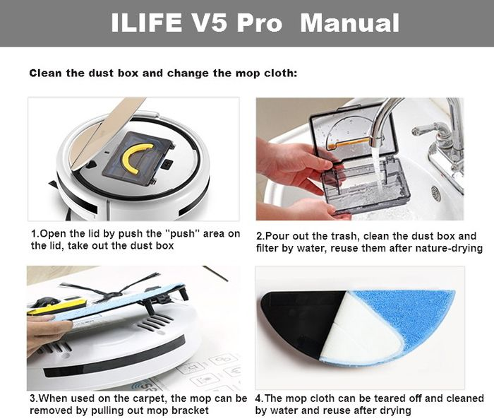 ILIFE V5 Pro Smart Robotic Vacuum Cleaner Cordless 2 in 1 Dry Wet Sweeping Cleaning Machine