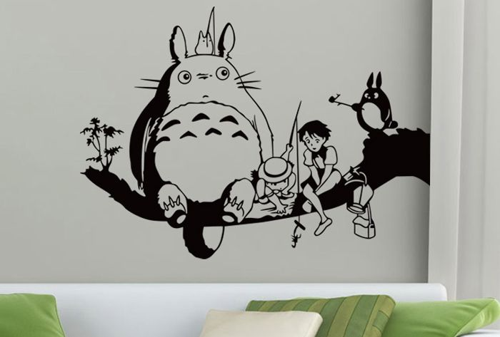 PVC Totoro Shape Decorative Wallpaper Water Resistant Cute Home Art Decals