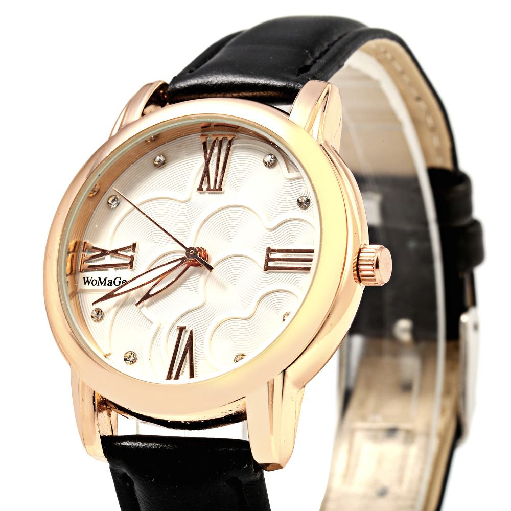 Womage 1142A Diamond Scales Golden Case Genuine Leather Band Female Quartz Watch