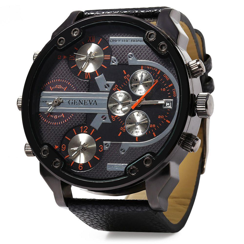 Geneva 448 Decorative Sub-dial Date Function Leather Band Multi-movt Male Quartz Watch