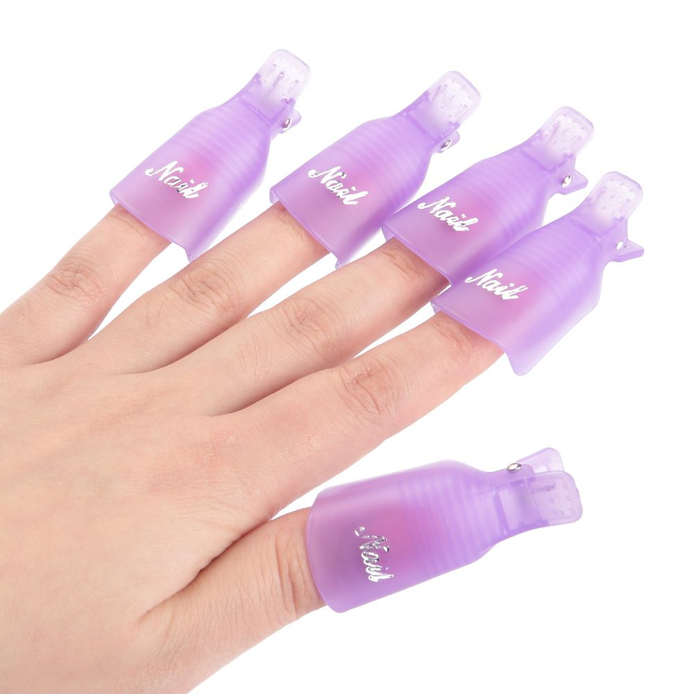10Pcs Durable Reusable Plastic Nail Art Polish Soak Off Remover Wrap Cleaner Clip Cap Tool