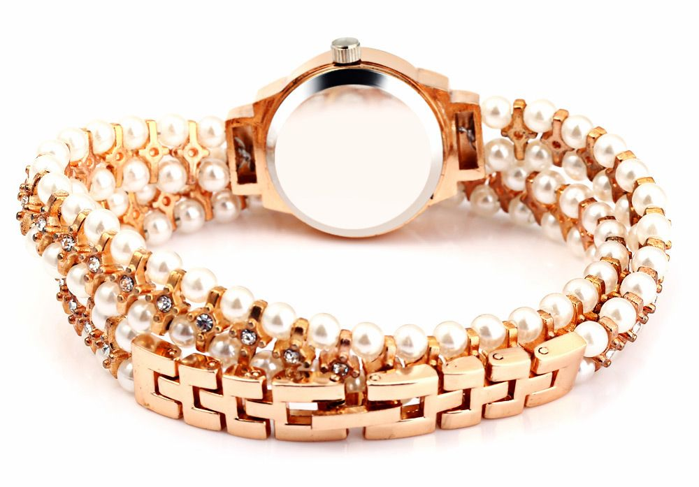IE-LY 629 Female Diamond Quartz Watch with Pearl Band Round Dial Stainless Steel Wristband