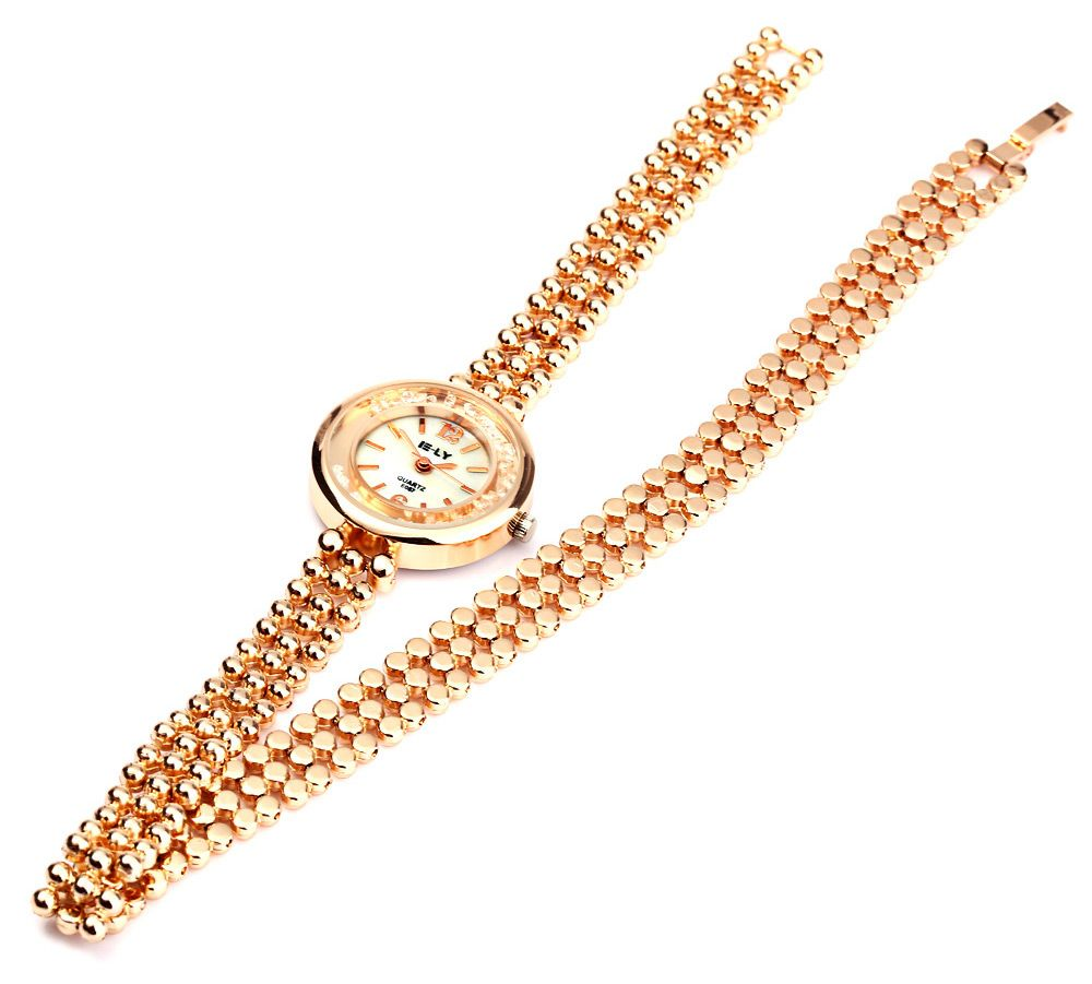 IE-LY E057 Female Quartz Watch with Stainless Steel Band Round Dial Gravel Diamond