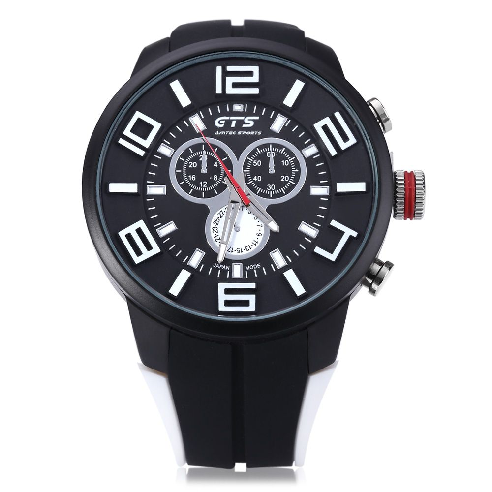 GTS 1004 Double Scales Decorative Sub-dial Male Japan Quartz Watch Silicone Band