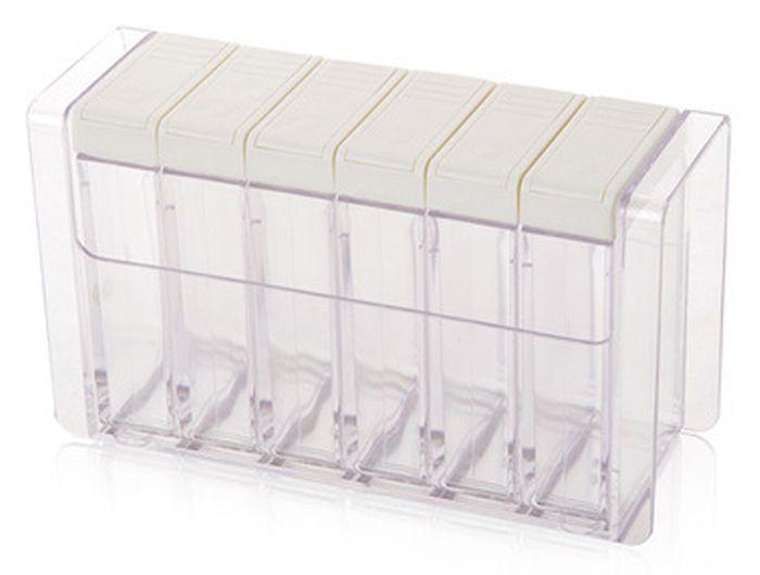Transparent Plastic 6 Case Seasoning Box Spice Salt Storage Case Kitchen Supplies