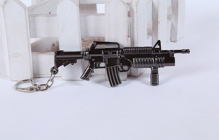 12cm Key Chain Sniping Rifle Hanging Pendant Metal Keyring for Bag Decoration