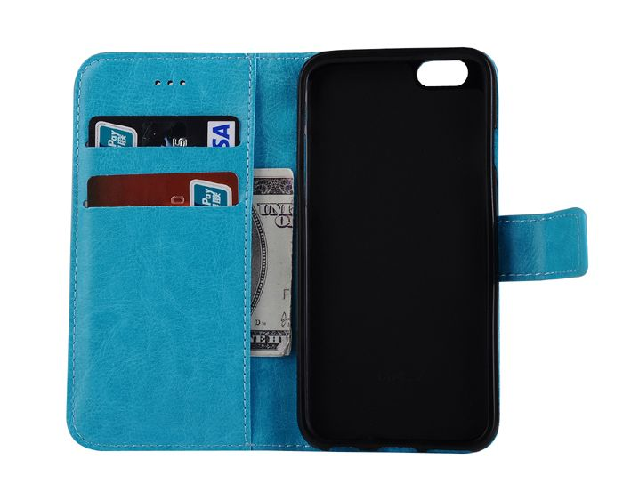 ASLING Crazy Horse Series PU Leather Full Body Protective Case for iPhone 6 / 6S with Credit Card Slot Phone Stand Holder