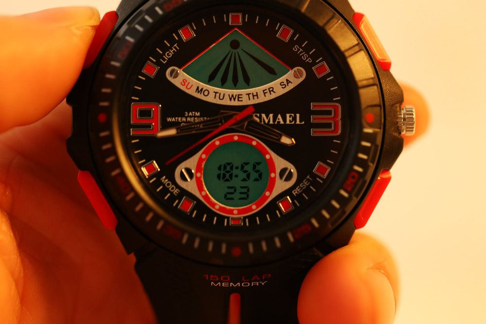 SMAEL 1315 Men Sports Digital Watch Dual Movt Day Date LED Backlight