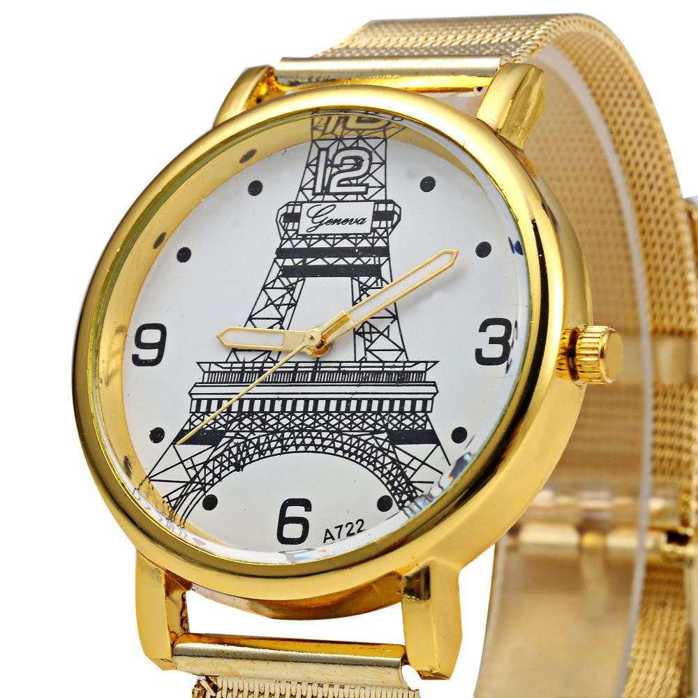 Geneva A722 Women Quart Watch Arabic Numerals and Dot Scale Steel Net Band