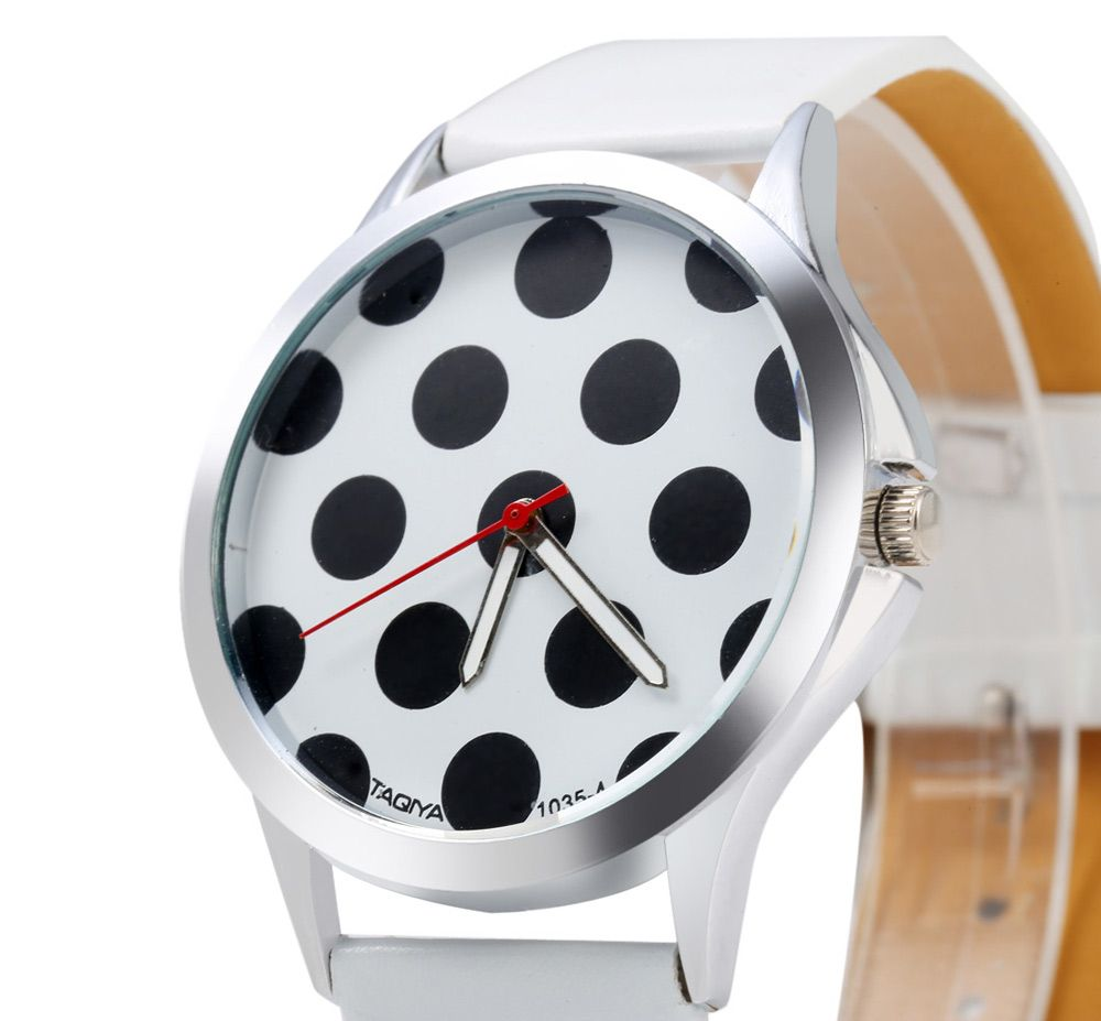 TAQIYA 1035-4 Casual Style Female Quartz Watch with Cute Dot Pattern Dial
