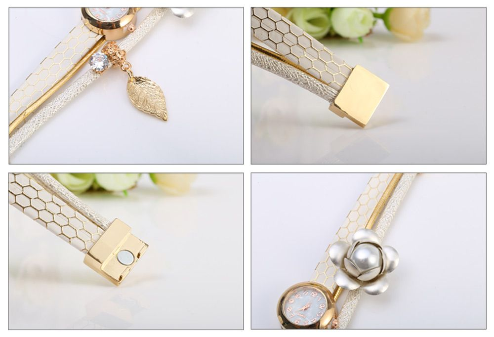 S5-51 Luxury Style Female Quartz Watch Bracelet with Decorative Flower Leaf