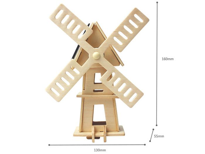 Solar Windmill W120 Puzzle Scientific Green Energy DIY Toy Blocks